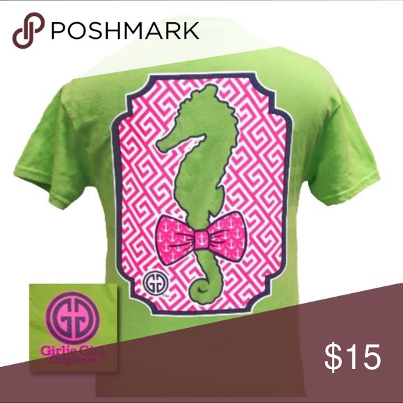Short Sleeve New Flamingo Lime Green Shirt As pictured - New With Tags Girly Girl Originals Tops Tees - Short Sleeve