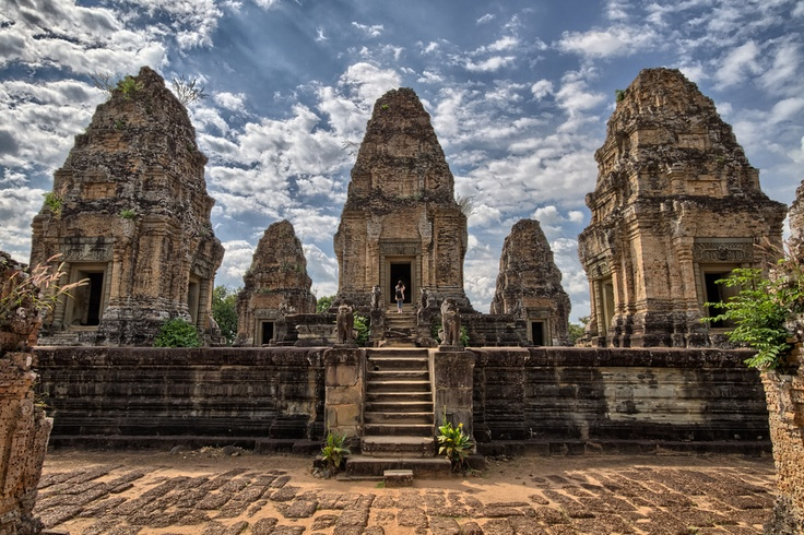 The Eastern Mebon is a 10th Century Temple at Angkor (Cambodia). It is located at the dry East Baray reservoir.