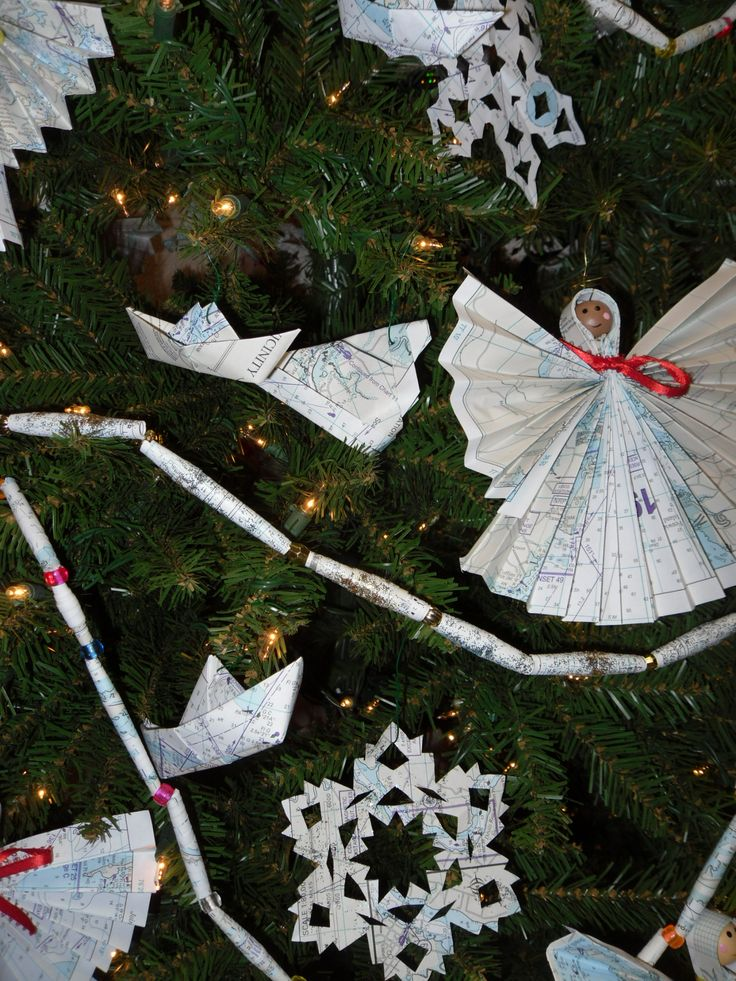 Christmas Decorations made from re-purposed maps and nautical charts: Charts Santaclaw, Nautical Christmas, Christmas Crafts, Nautical Charts, Christmas In July, Christmas Decorations, Re Purpose Maps, Christmas Wint, Re Purpo Maps