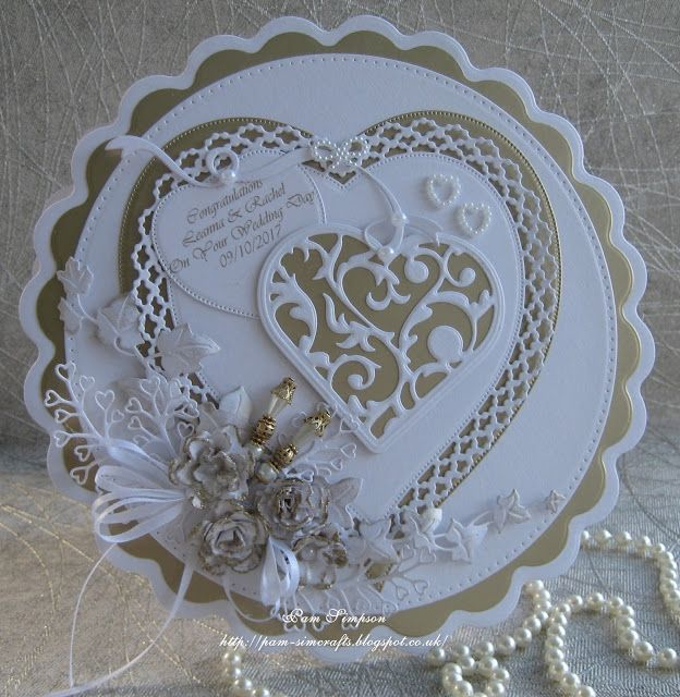 pamscrafts: Gold and White Wedding card.