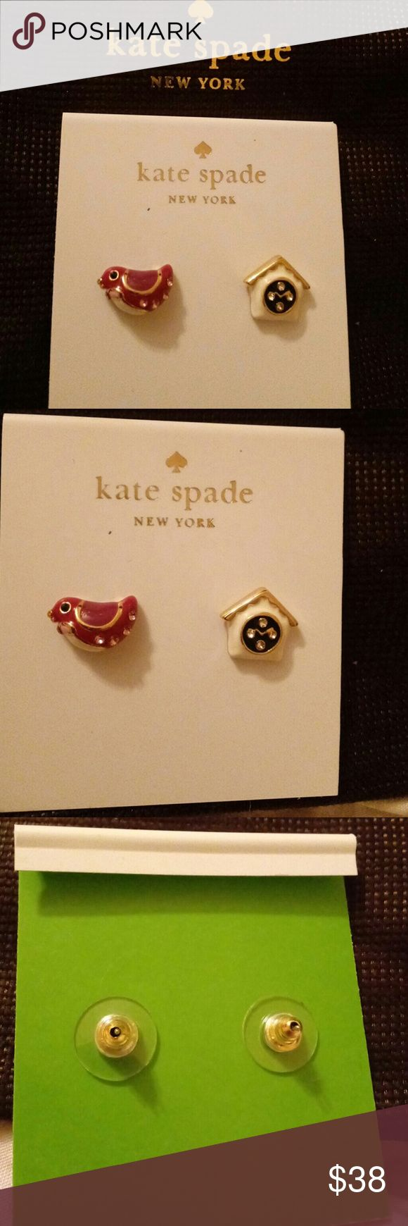 """Kate Spade New Bird/House Stud Earrings w/Pouch These adorable & authentic Kate Spade Bird/ Birdhouse mismatch stud earrings will be a perfect for all your lovely fall/winter sweaters! Also makes a lovely gift for the bird lover in your life or just someone who loves adorable jewelry!  Features:  -Shiny 12-karat gold plated metal with glass stones and enamel fill -Steel posts -Post back -Approximate diameter: 1/2"""" -Comes on earring card with kate spade brand pouch! -Retail: $58  Open to…"""