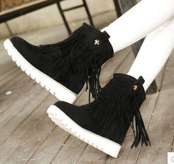Women new fashion autumn winter warm fur tassel flat heels scrub short casual snow boots shoes large plus size 40-43