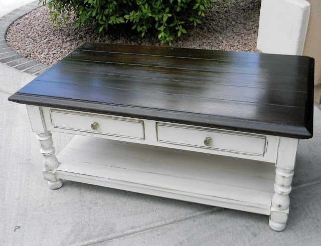 Little Bit of Paint: Refinished Coffee Table. My current coffee table has the same shape--I've been wondering what to do with it. Hmm.