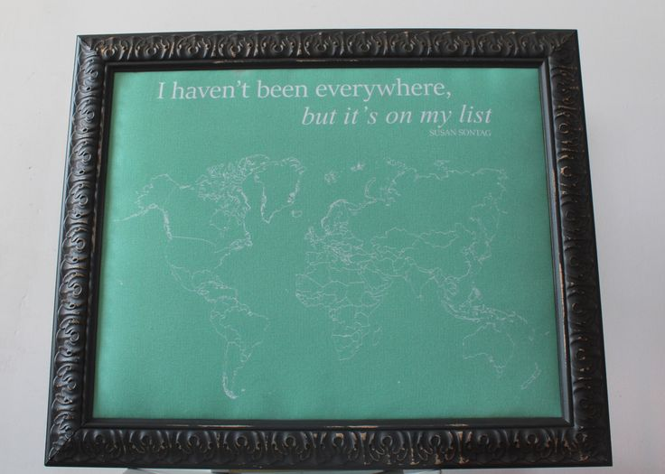 A personal favorite from my Etsy shop https://www.etsy.com/ca/listing/260173297/ready-to-ship-framed-world-push-pin-map