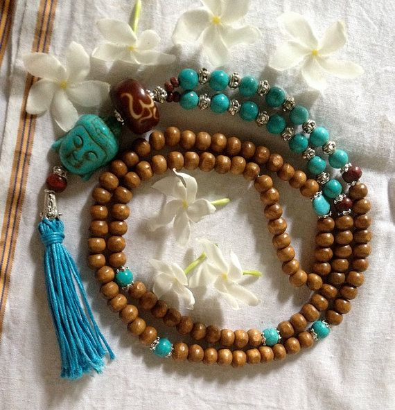 Buddha Bless Turquoise 108 bead Yoga Mala   - 3 days left to order in time for xmas delivery <3 shop for good karma supports my work in rural india.