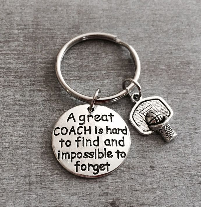 A great coach is hard to find and impossible to forget, Basketball Coach, b ball, shooting hoops, Basketball Gift, Basketball Team, Keychain by SAjolie, $16.95 USD