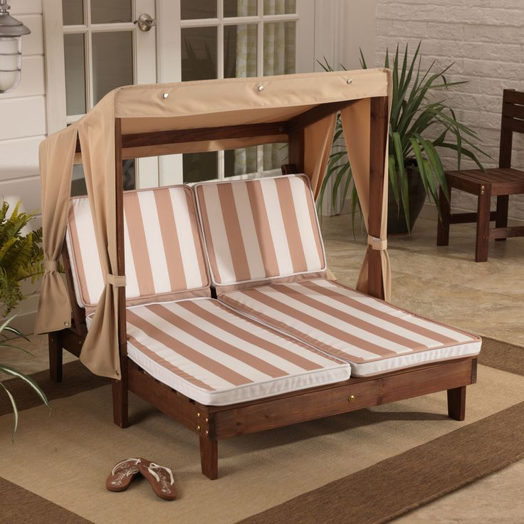 Kidkraft oatmeal white stripes double chaise lounger by for Chaise construction