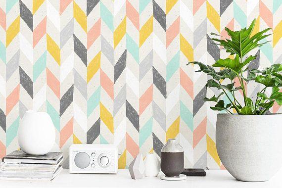 Pastel Chevron Wallpaper Herringbone Wallpaper Peel And Etsy Chevron Wallpaper Herringbone Wallpaper Fabric Wallpaper