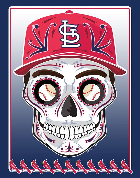 St. Louis Cardinals Día de Muertos (Day of the Dead), Calavera (Sugar Skull) Print You get: A high quality 11 x 14 print, signed by artist Printed on acid free paper with ultrachrome inks Packaged in archival, acid free bag With an acid free backer card & My gratefulness Please note that colors and details are much richer in person due to the scanned image and differences in computer monitors. Shipping: USPS Priority Mail unless otherwise requested. Print will ship flat, ready for framin...