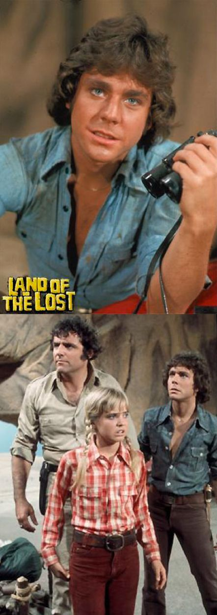 Wesley Eure as 'Will Marshall' with Kathy Coleman as 'Holly Marshall' & Spencer Milligan as 'Rick Marshall' in Land of the Lost (1974-76, NBC)
