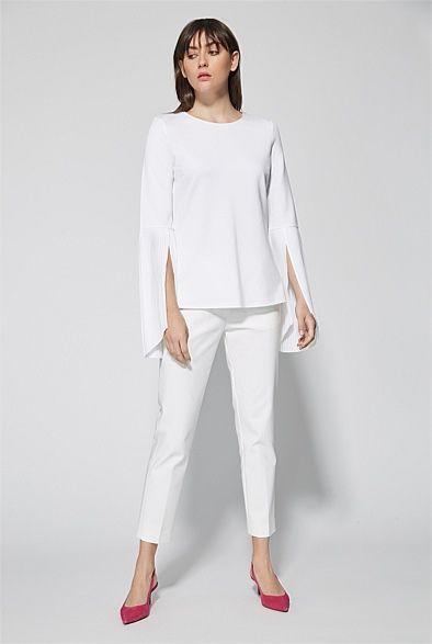 Flare Pleat Sleeve Top | Woman
