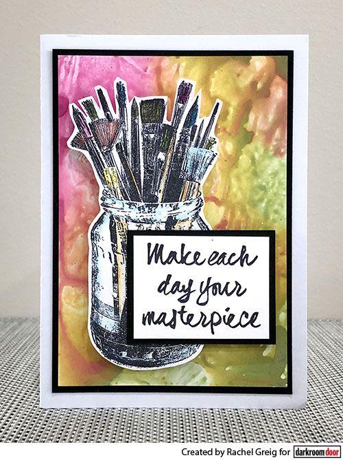 Darkroom Door Artist Palette Stamp Set. Card by Rachel Greig.