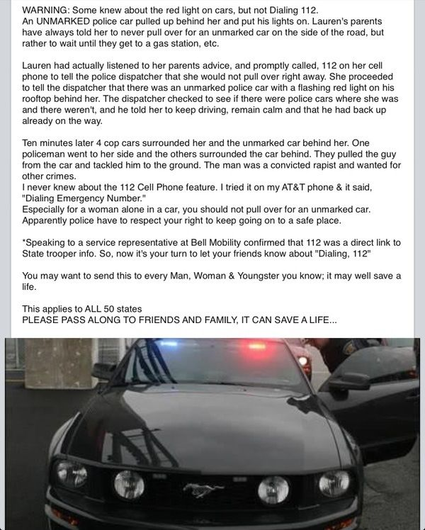 Everyone should know this, I see unmarked police cars a lot, this is a good thing to know!