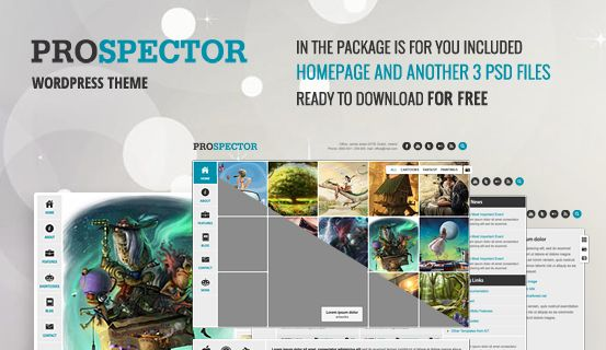 Here you can download 4 #PSD files of Prospector #WordPress Theme. It's FREE. Package includes layered PSD files of Homepage, Blog, Detail and Page with Slider great for your own project to use.