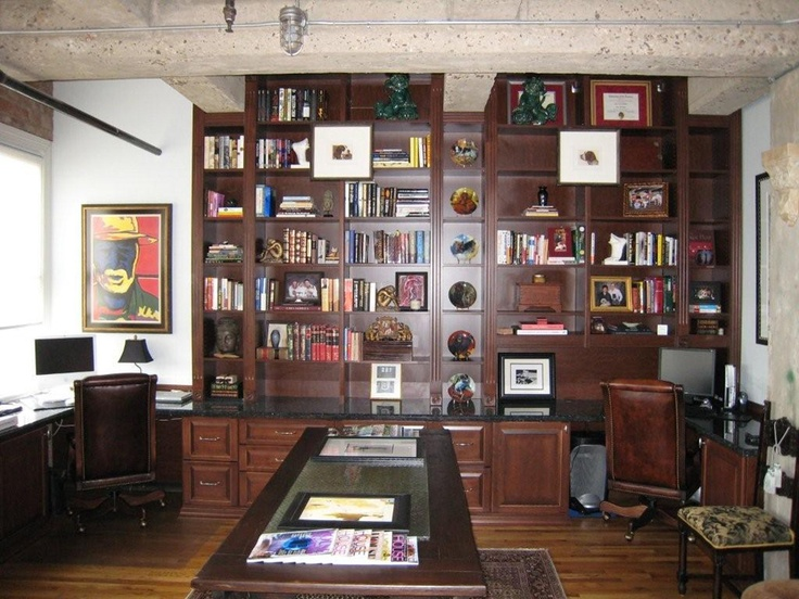 elaborate custom home library system in downtown loft space 2 desks lots of filing home office designoffice - Custom Home Office Designs