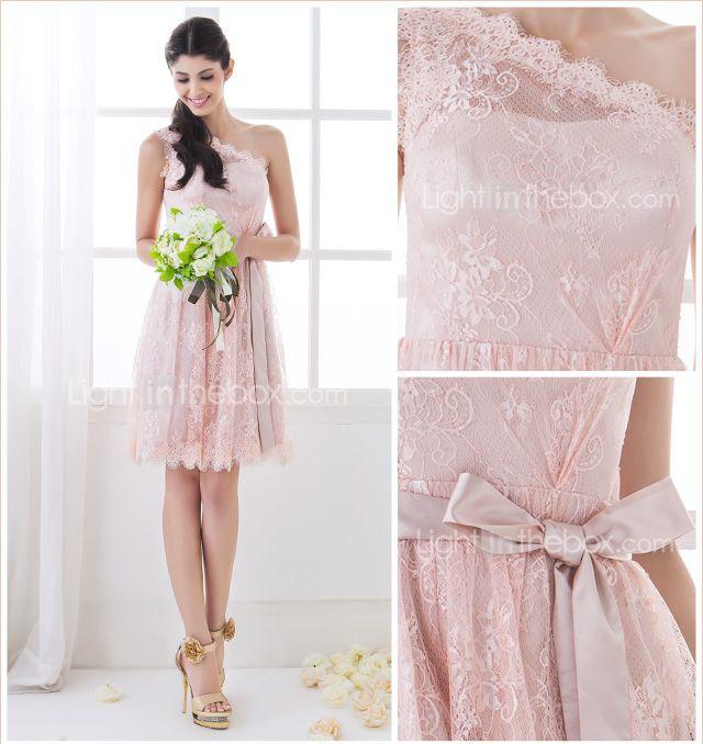 Bridesmaid Dress Knee Length Lace A Line One Shoulder Dress (710809) - USD $ 64.99