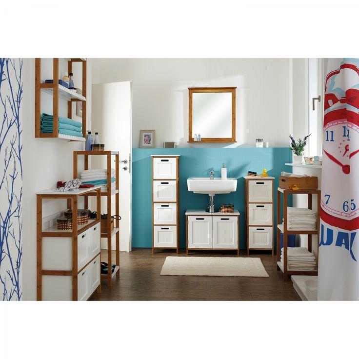 Home Stuff ♥♥: Bathroom Badezimmerset Jakob II (4-teilig) - Bambus teilmassiv - Bambus / Matt Weiß