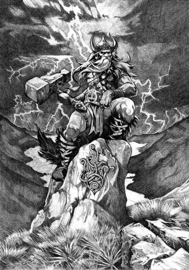 Other things Thor has; is the power belt Meningjord, his strength grow when he tightening the belts. He also has gauntlets and an iron bar in his left hand. Thor was worshiped mainly by simple people, he's peasants and bondsmen god. Thor is the god who brings order out of chaos. Like the other Norse gods, he is not immortal. In Ragnarokwill Thor and Midgard Serpent kill each other, however his two sons survive. Tor has given its name to Thursday.