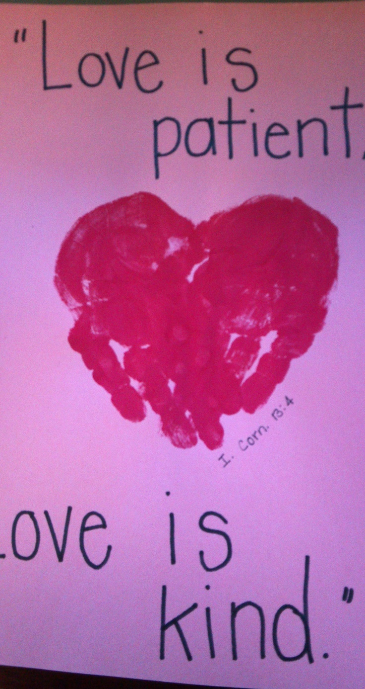 Valentine party ideas for church - Handprint Craft For Our Bible Verse This Month I Corn 13 4 Valentine Versesvalentine Partyvalentine Ideasvalentines