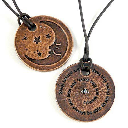 """Unisex Friendship Moon Pewter Token Pendant with 19"""" Leather Cord Necklace Modern Artisans. $17.99. 1"""" diameter pewter pendant is solid, lead-free and crafted in the USA. Includes 19"""" leather cord. Pendant is permanently altered to resemble aged copper - not coated or painted and will not fade. Quote: """"Friends are like stars, you may not always be able to see them, but they are always there"""". Friendship Moon Token Pendant features quote on reverse that spirals around an ..."""