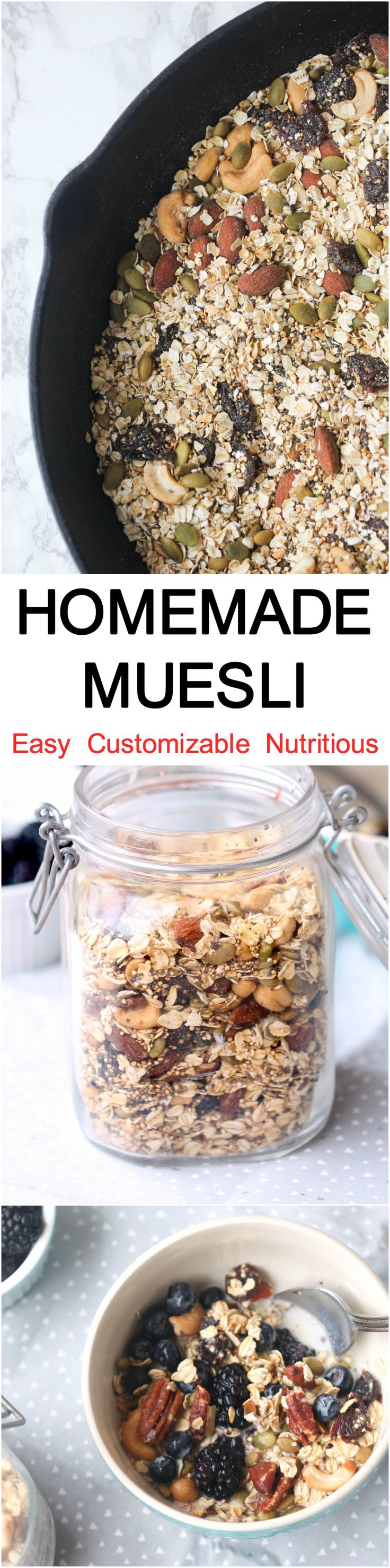 Homemade Muesli – quick, nutritious breakfast and snack option! Vegan and Gluten-Free.