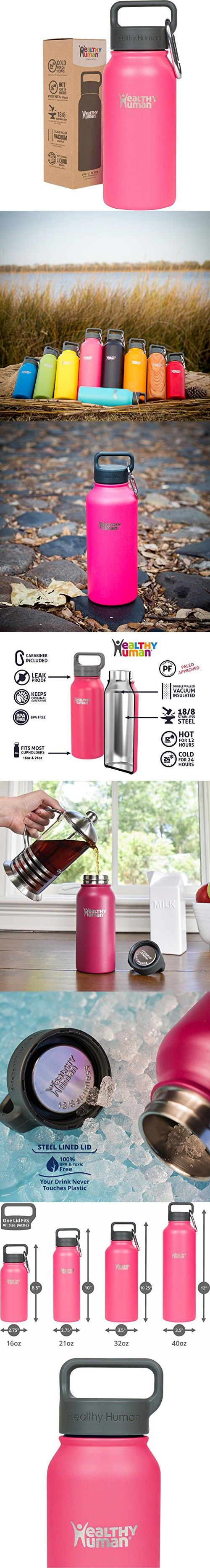 Healthy Human 16 oz Water Bottle - Cold 24 Hrs, Hot 12 Hrs. 4 Sizes & 12 Colors. Double Walled Vacuum Insulated Stainless Steel Thermos Flask with Carabiner & Hydro Guide. Color: Hawaiian Pink