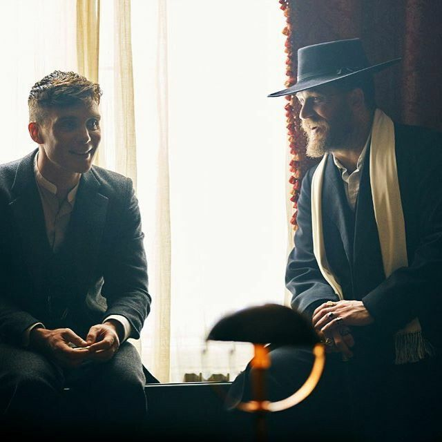 Cillian Murphy & Tom Hardy in between takes on the set of Peaky Blinders.