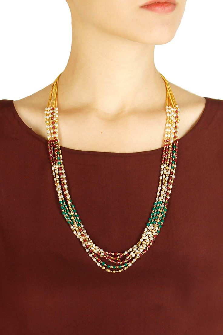 Gold finish ruby, pearl and green onyx long string necklace by Art Karat. Shop now: http://www.perniaspopupshop.com/designers/art-karat #necklace #artkarat #shopnow #perniaspopupshop