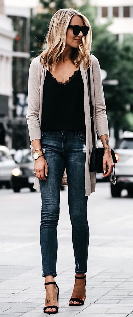 #fall #outfits women's gray cardigan black lace V-neck shirt, and blue-washed whiskered jeans outfit