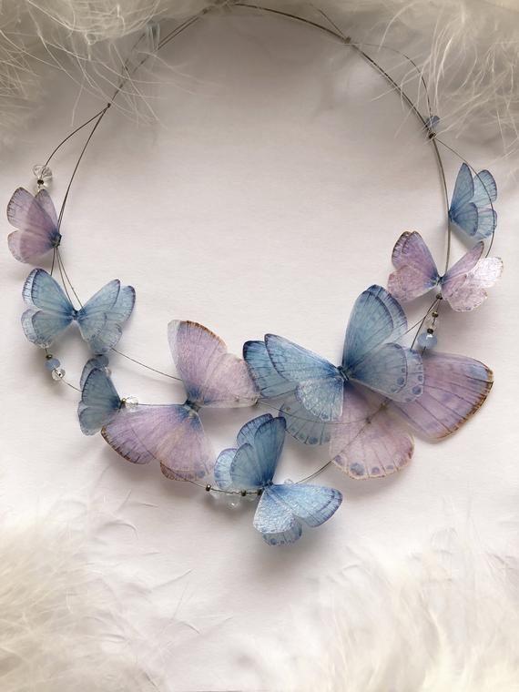 Collier rêve avec 3D soie papillons de « Gracia » ensemble pour Boho Chic Look, collier papillon avec ailes, collier créatif d'ailes