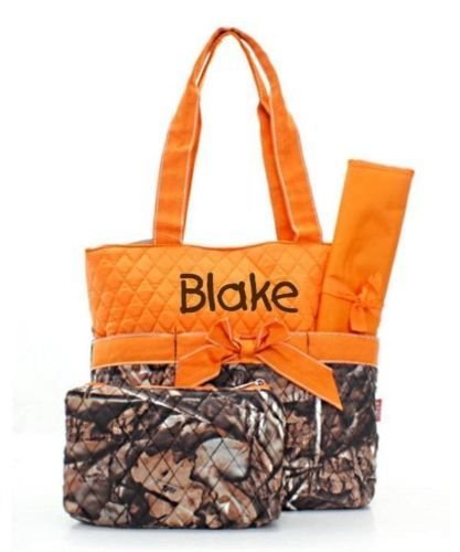 Personalized Natural Camo Diaper Bag Set with Orange Trim Baby Boy Diaperbag | eBay