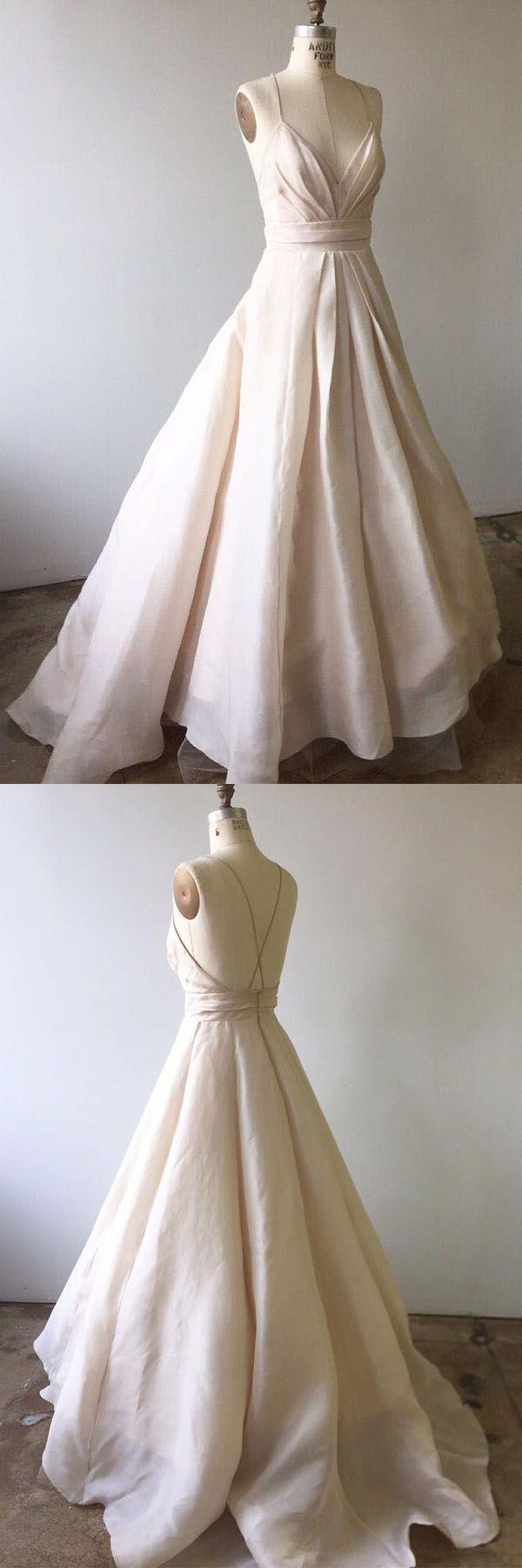 Spaghetti Straps Light Pink Long Wedding Dress with Criss Back WD210 #weddingdress #weddings #pgmdress