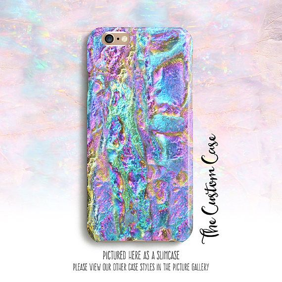 Metallic Rainbow Stone Phone Case Electroplated Stone Phone