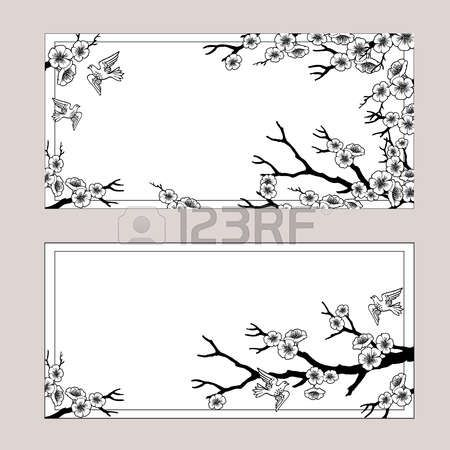Vector set of spring banners. Sakura blossoms and birds. Black and white outlined illustration.