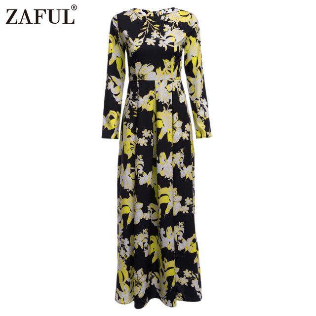 ZAFUL New Women Autumn Dress Retro Floral Print Vintage Dress long Sleeve High waist long Female Party Maxi Dress