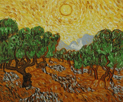 Van Gogh - Olive Trees with Yellow Sun and Sky - overstockArt.com