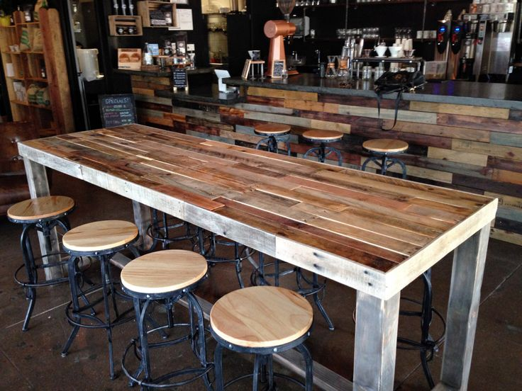 reclaimed wood bar counter community rustic custom kitchen coffee cocktail crafting work conference office meeting table tables beach cabin by KaseCustom on Etsy https://www.etsy.com/listing/248357507/reclaimed-wood-bar-counter-community