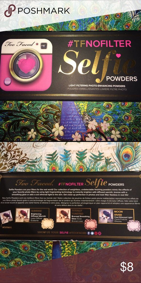 Photo Enhancer 3 Light filtering photo-enhancing powders.          #Sunrise, Brightening Diffused Warmth.                #Totally Toasted, Bronzed Smoothing Glow.         #Moon River, Cool Ethereal Light.                           If you ❤️️ taking selfies this powder is for you!! Too Faced Makeup Face Powder