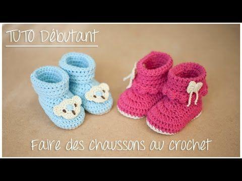 Chaussons bottines au crochet pour débutant (Taille naissance à 12 mois) - YouTube