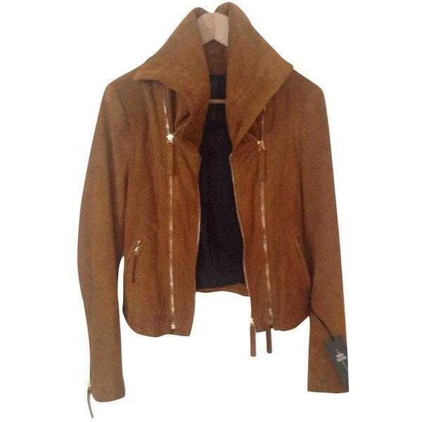 Pre-owned Jerome Dreyfuss Jacket ($512) ❤ liked on Polyvore featuring outerwear, jackets, camel, women clothing jackets, button up leather jacket, camel leather jacket, collar jacket, zipper jacket and zipper leather jacket