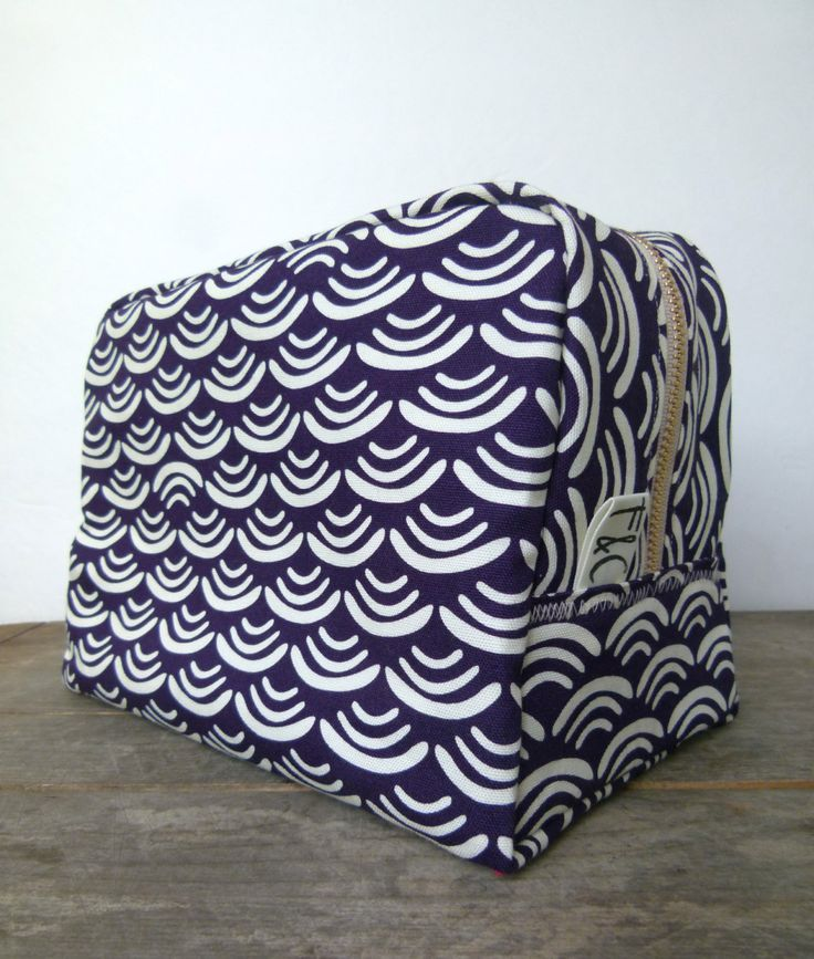 Large Deep Plum and Ivory Toiletry Bag by frankieandcocopdx, $52.00