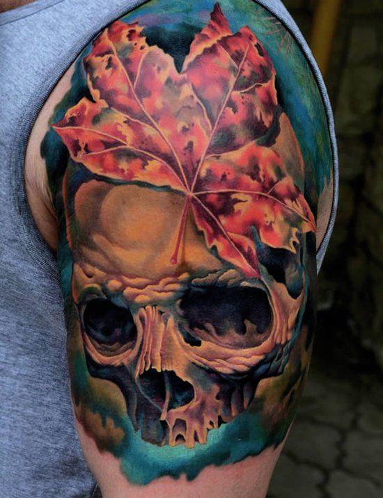 leaf and skull tattoo - 60 Awesome Skull Tattoo Designs  <3 <3