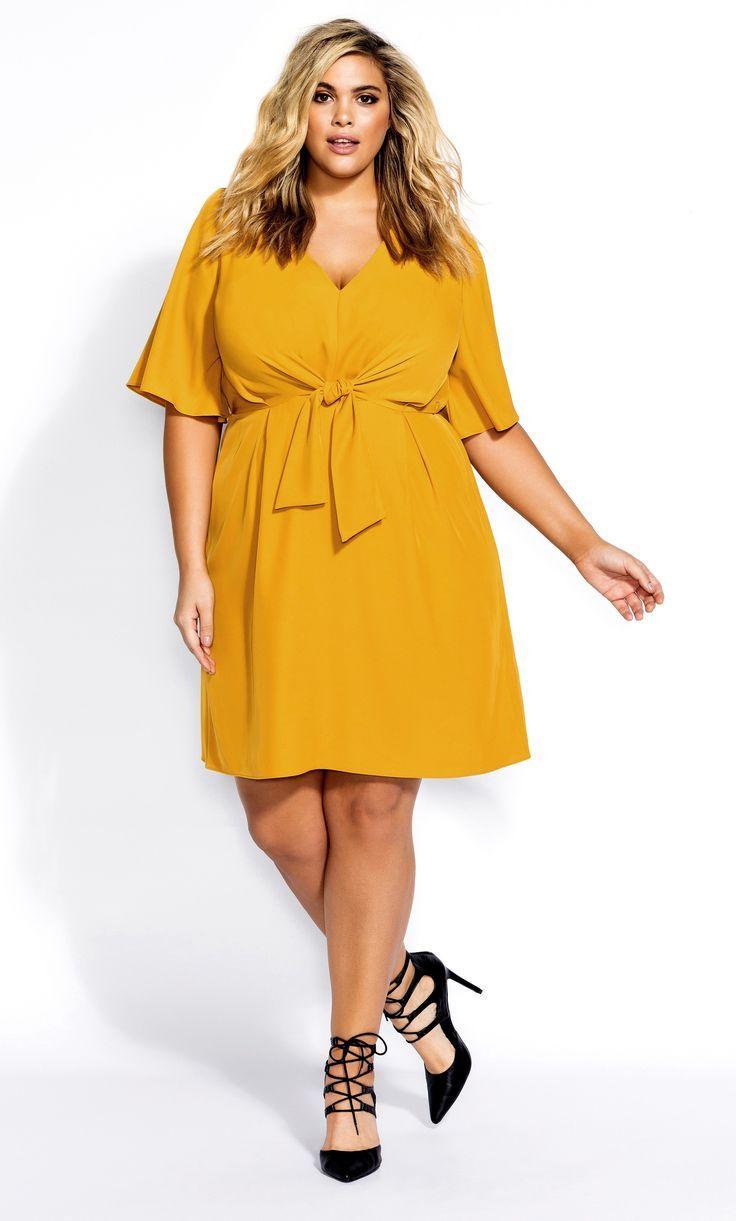 Yellow Checkered Peplum Plus Size Dress
