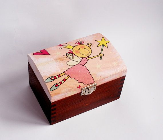 Small trunk for little princess. Made of wood. Painted with non-toxic acrylic paints. Decorated with decoupage technique finished with glossy varu2026 & Small trunk for little princess. Made of wood. Painted with non ... Aboutintivar.Com