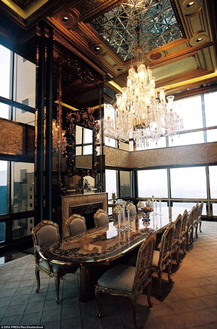 Over-the-top: Their apartment in Trump Tower features ornate hand-painted ceilings and a marble fountain