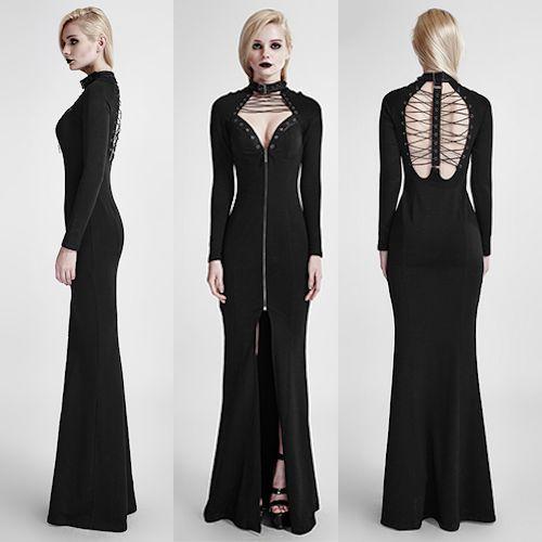Sexy Black Long Sleeve Gothic Vampire Fashion Sheath Evening Dress SKU-11402284