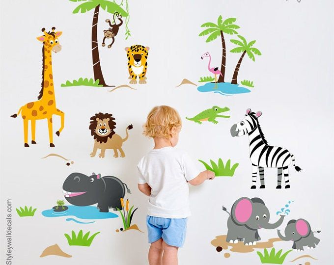 Jungle Animals Wall Decal Jungle Wall Decal Sticker Safari