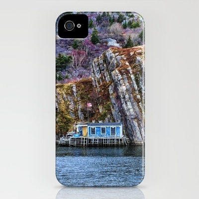 Old Fisherman House on water in Newfoundland, canada iPhone Case by Claude Gariepy - $35.00