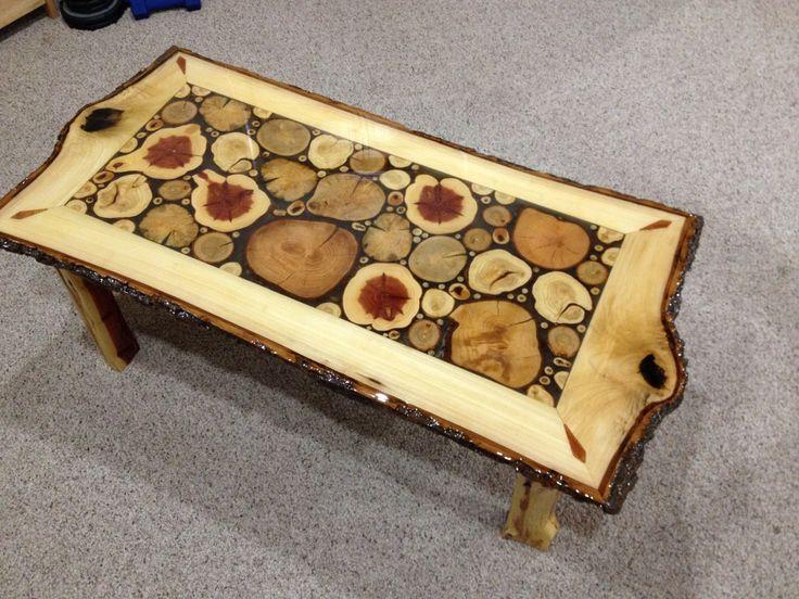 Log Slice Coffee Table with Sassafras White door LiveEdgeWoodcrafts
