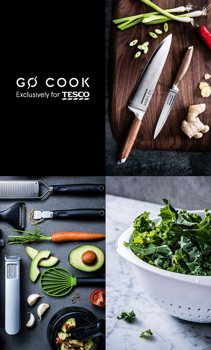 Explore our new premium cookware range, Go Cook Exclusively for Tesco. From cleverly designed pans to handcrafted knives, you'll find everything you need to create a showstopper. Click to see more: